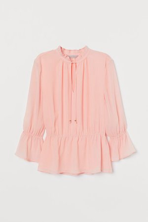 Crinkled Chiffon Blouse - Light pink - Ladies   H&M US