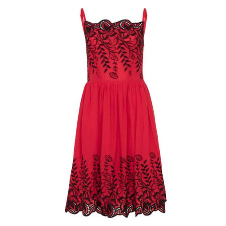 Voodoo Vixen Scarlett dress with black embroidered flowers red - Rocka