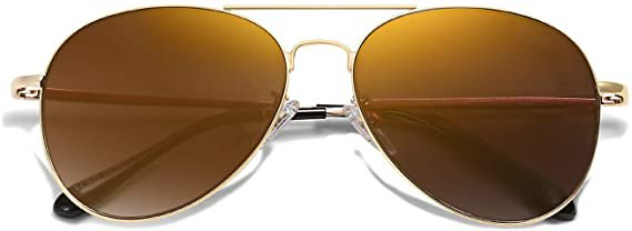 Amazon.com: SOJOS Classic Aviator Mirrored Flat Lens Sunglasses Metal Frame with Spring Hinges SJ1030 with Gold Frame/Brown Mirrored Lens: Clothing
