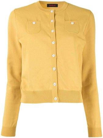 Caban button fine knit cardigan