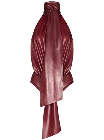 Red Saint Laurent latex halterneck bodysuit 634965Y7B22 - Farfetch