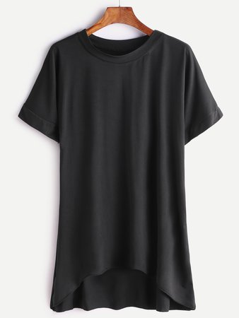 Black Short Sleeve Dip Hem T-shirt
