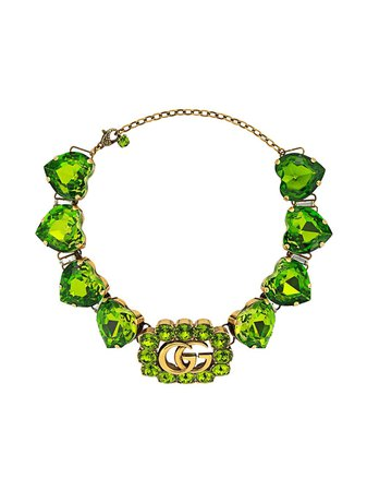 Gucci Double G heart-crystal Necklace - Farfetch