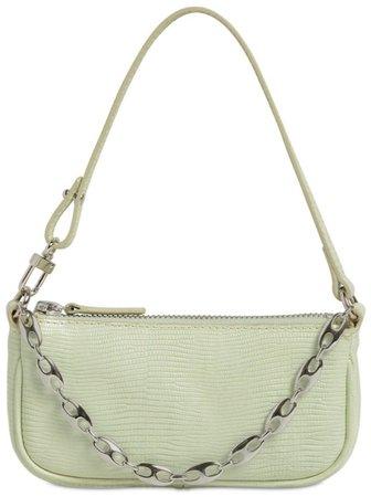 BY FAR Sage Green Lizard Rachel Mini Handbag