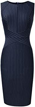 VFSHOW Womens Elegant Navy Blue and White Striped Cocktail Party Slim Zipper up Work Business Office Sheath Dress 2619 BLU M at Amazon Women's Clothing store