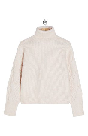 Topshop Cable Knit Sleeve Turtleneck Sweater | Nordstrom