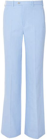 Kosta Ramie And Cotton-blend Straight-leg Pants - Sky blue