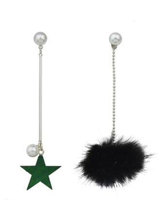 Black Color Fake Fur Ball Star Shap Long Earrings