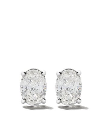 As29 18Kt White Gold Mye Oval Diamond Stud Earrings MYE125ER Silver | Farfetch