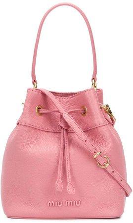 Matelasse leather bucket bag