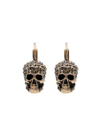 Metallic Alexander McQueen Crystal-embellished Skull Earrings | Farfetch.com