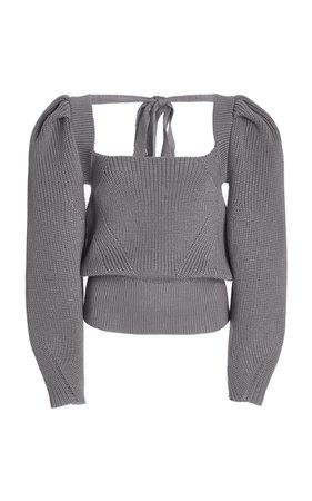 Rachel Tie-Accented Wool-Blend Sweater By Anna October   Moda Operandi