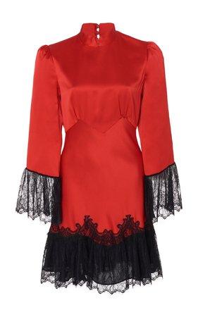 Saloni Corinne B Scarlet Silk Mini Dress