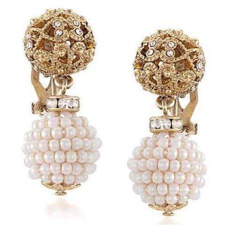 Carolee - Lux Antique Lace Double Drop Clip Earrings