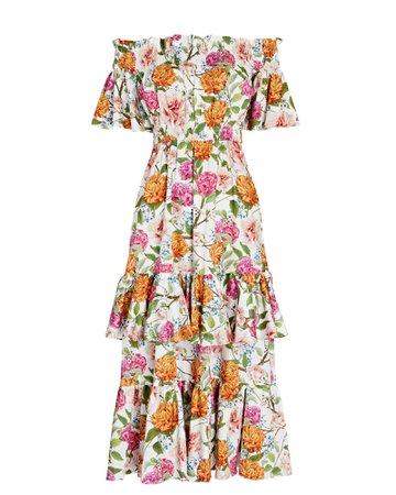 Borgo De Nor Margarita Off-the-Shoulder Floral Cotton Dress   INTERMIX®