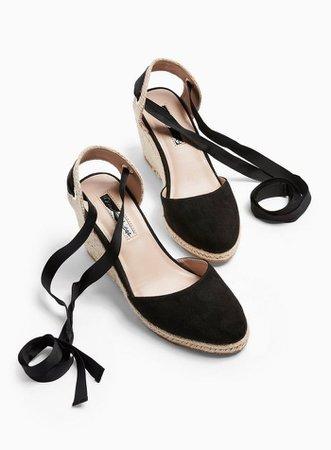 WINNY Black Ankle Tie Wedges | Miss Selfridge