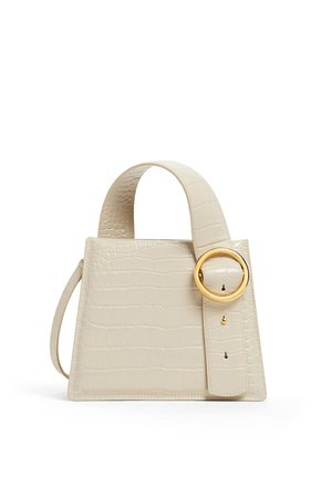 Cream Crocodile Enchanted Top Handle Bag by Parisa Wang