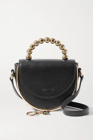 Mara Evening Embellished Leather Shoulder Bag - Black