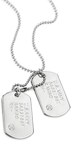 COOLSTEELANDBEYOND Classic Two-Pieces Mens Military Army Dog Tag Pendant Necklace with 28 inches Ball Chain | Amazon.com