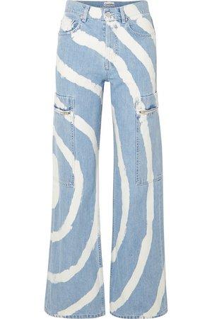 GANNI | Blackstone bleached high-rise wide-leg jeans | NET-A-PORTER.COM