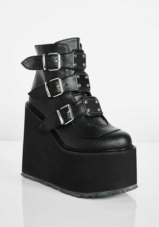 Free, fast shipping on Matte Low Trinity Boots at Dolls Kill, an online boutique for punk & rock fashion. Shop punk boots, Demonia, Dr. Martens, & platform shoes. | Dolls Kill