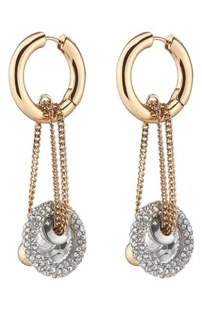 DEMARSON Apollo Charm Chain Drop Hoop Earrings | Nordstrom