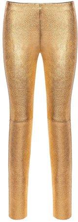 Nissa - Natural Leather Slim Pants Gold