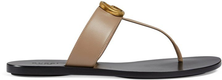 Leather thong sandal with Double G
