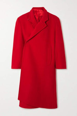 Oversized Asymmetric Virgin Wool-blend Coat - Red