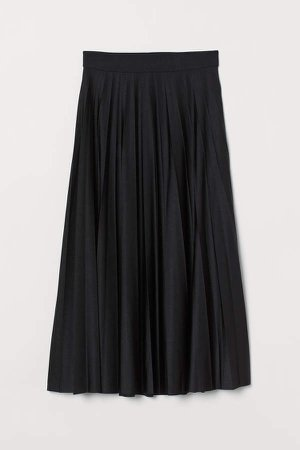 Pleated Jersey Skirt - Black