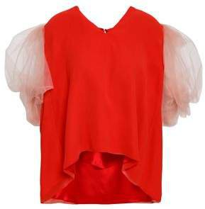 Gathered Tulle And Silk-chiffon Top