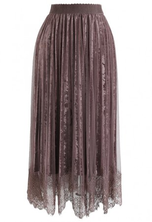 Asymmetric Lacy Hem Mesh Velvet Skirt in Berry - NEW ARRIVALS - Retro, Indie and Unique Fashion