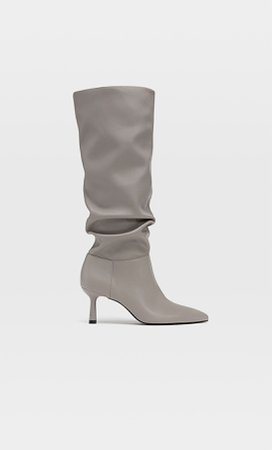 High heel slouched boots - Women's Just in | Stradivarius United States grey