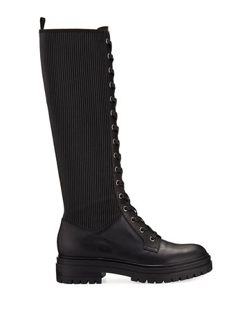 Gianvito Rossi Lace-Up Combat Knee Boots