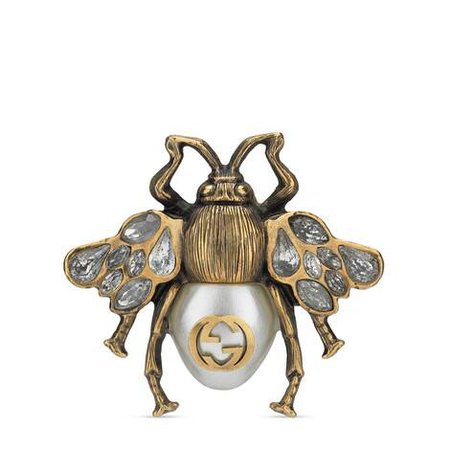 aged gold finish Bee ring with crystals and pearl | GUCCI® US