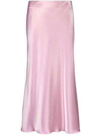 Shop purple Nanushka Razi satin midi skirt with Express Delivery - Farfetch