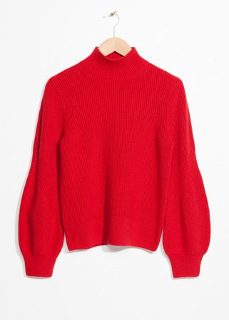 Puffy Sleeve Sweater - Red - Sweaters - & Other Stories DE