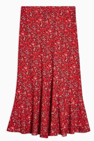 Red Animal Print Flounce Midi Skirt   TopShop