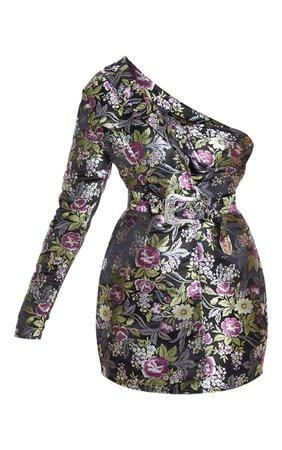 Black Oriental One Shoulder Bodycon Dress | PrettyLittleThing