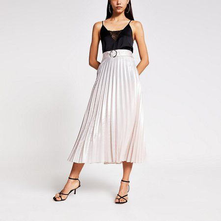 Silver belted pleated midi skirt | River Island
