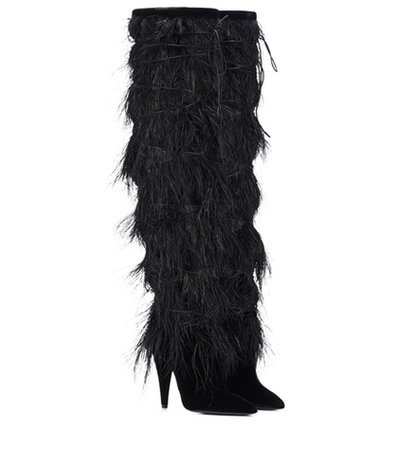 Yeti 110 feather-trimmed velvet boots