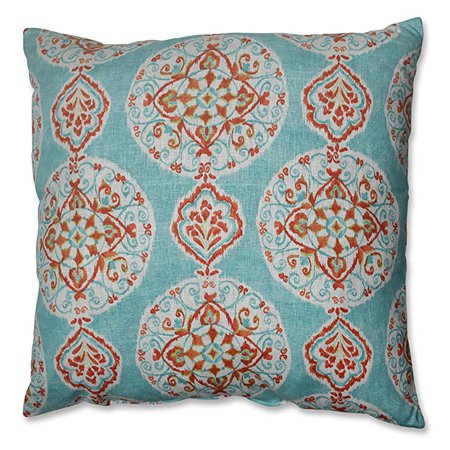"Amazon.com: CC Home Furnishings 23"" Heavenly Orbs Aqua Blue, Ivory White and Orange Decorative Throw Pillow: Home & Kitchen"