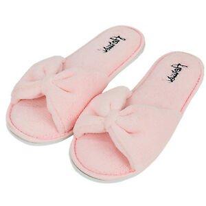 Pink Bowknot Women's Open Toe Cozy Slide Spa Slipper Indoor Bedroom ...