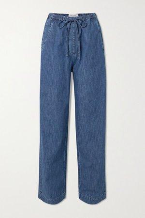 Wide-leg Denim Jeans - Blue