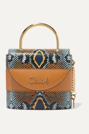 Blue Aby Lock small snake-effect leather shoulder bag | Chloé | NET-A-PORTER