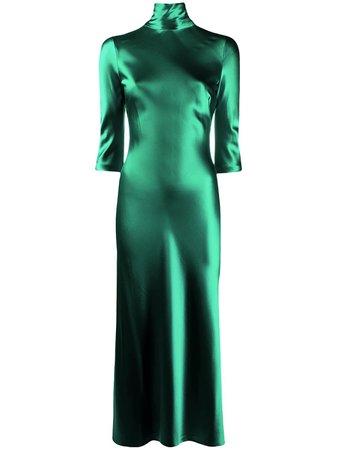 Green Galvan Margot silk dress- Farfetch
