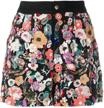 floral sequin embroidery shorts
