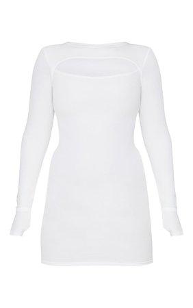Cream Rib Cut Out Thumb Hole Bodycon Dress | PrettyLittleThing USA