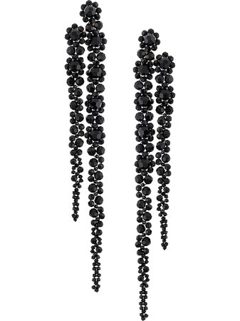 Black Simone Rocha flower crystal drop earrings - Farfetch