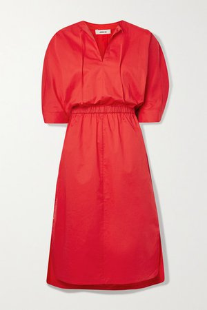 Stretch-cotton Poplin Midi Dress - Red